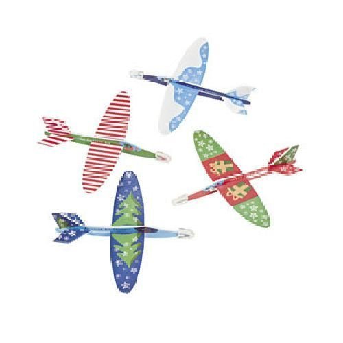 Foam Mini Christmas Holiday Airplane Gliders (48 Pack) - 1
