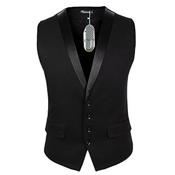Zicac Mens Casual Slim Fit Skinny dress vest Waistcoat (Tag L(UK:S), Black One)