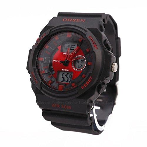 Ohsen Cool Waterproof Mens Digital Lcd Stopwatch Alarm Sport Quartz Watch-Red