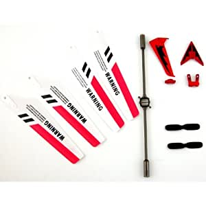 Full Set Replacement Parts for Syma S107 RC Helicopter, Main Blades, Tail Decorations, Tail Props, Balance Bar, -Red Set