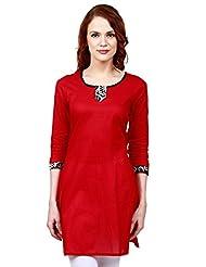 Faireno Red Cotton Round Neck Women's Kurti