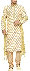 Indian Poshakh Mens Silk Sherwani (1202_40, 40, Beige)