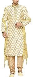 Indian Poshakh Men's Silk Sherwani (1202_40, 40, Beige)