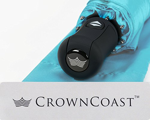 Crown Coast Umbrellas | Free Replacement Guarantee - Heavy Duty Auto Open/Close Travel Umbrella Windproof To 60 MPH Winds - Frame Won't Break If Flipped Inside Out - Customer Service Backed Product