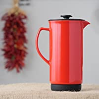 Ceramic French Press Coffee Press + Bonus Wooden Spoon (Red, 32 oz)