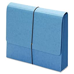 Globe-Weis Extra Wide File Wallet, 5.25-Inch Expansion, Heavy Duty Elastic Cord Closure, Letter Size, Blue, 10-Count (1074BLU)