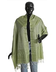 Camouflage Green With Olive Green Tanchoi Weaved Banarasi Stole - Art Silk
