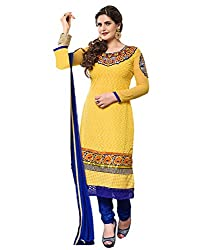 DKS Designers Women's Georgette Unstitched Dress Material (AA03_Yellow_Free SiAe)