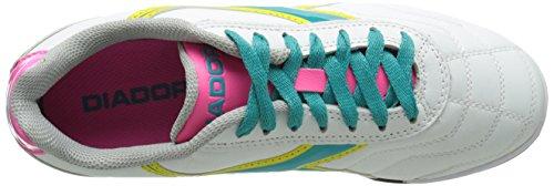 Diadora Women's Capitano LT Soccer Turf Shoes, White/Teal, 8 M US