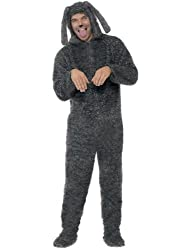 Mens Adults Fluffy Dog Onesie Costume With Soft Padded Head and Tail