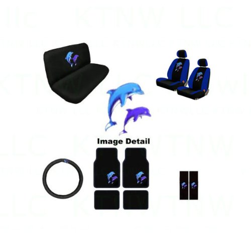 15Pc Ocean Blue & Purple Dolphins Auto Accessories Interior Combo Kit Gift Set front-191586