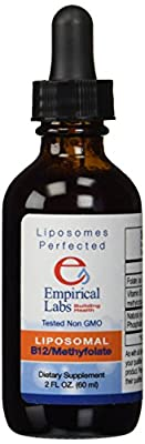 Liposomal Vitamin B-12 with L-5-mthf Professional Single Dosage Quanities of Methylfolate Liquid As Methylcobalamin and Natural (Non-hydrogenated) Phosphatidyl Choline Non GMO Non Soy