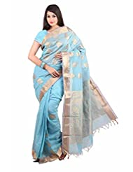 Anusha Dull Sky Blue Mercerised Cotton Saree With Rich Jacquard Pallu