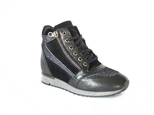 Stivaletto donna EXTON, sneaker in pelle con lacci e cerniere lampo, zeppa interna 3cm.