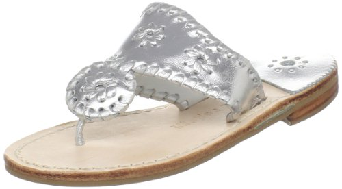 Jack Rogers Hamptons Thong Sandal (Toddler/Little Kid/Big Kid),Silver,4 M US Big Kid