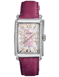 Special Price Gevril Women's 7248RE.14E Pink Mother-of-Pearl Genuine Ostrich Strap Watch
