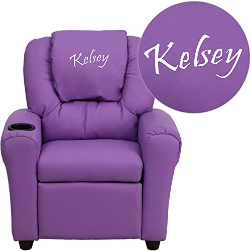 Flash Furniture Personalized Vinyl Kids Recliner with Cup Holder and Headrest, Lavender