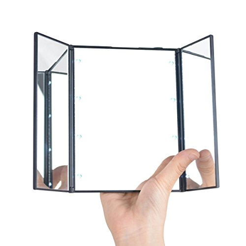 vanity lighted makeup mirrors black foldable led lights travel compact cosmetic ebay. Black Bedroom Furniture Sets. Home Design Ideas