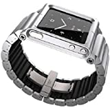 DingTool Aluminum Multi-Touch Wrist Watch Band case For Apple ipod nano 6 (Silver)