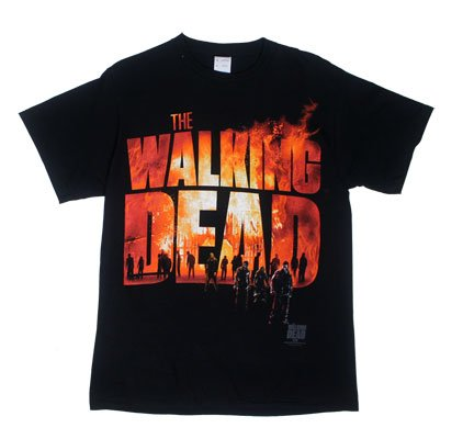 The Walking Dead Two Fire Logo Mens T-shirt Black