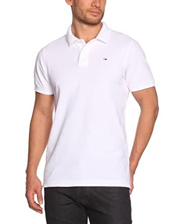 Hilfiger Denim - Pilot Flag - Polo - Uni - Homme -  Blanc (Classic White) FR:Medium (Taille fabricant: Small)