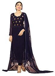 Rozdeal Designer Dark Blue Nazneen Chiffon Dress Material