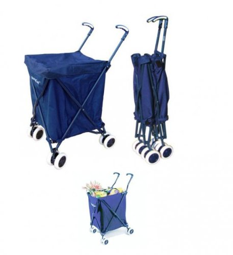 "Folding Shopping Cart - with Liner and Lid (Blue) (37""H x 18""W x 23""D)"