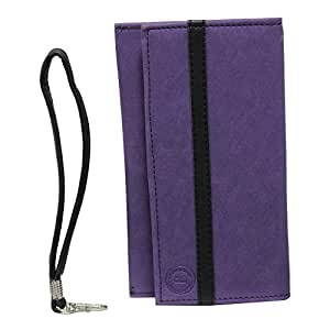 Jo Jo A5 Nillofer Leather Wallet Universal Pouch Cover Case For Panasonic Eluga I3 Purple Black