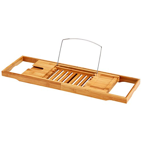 Ollieroo Natural Bamboo Bathtub Caddy with Extending Sides Adjustable Book Holder Premium Luxury Shower Bathtub Tray Organizer For Your Phone and Wineglass (Wine Rack With Removable Tray compare prices)
