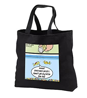 tb_4518_1 Rich Diesslins Funny Out to Lunch Cartoons - Fish Food - Life in an Aquarium - Tote Bags - Black Tote Bag 14w x 14h x 3d