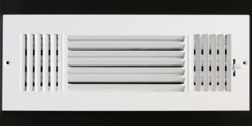 """14"""" x 4"""" 3-WAY SUPPLY GRILLE - DUCT COVER & DIFUSER - Flat Stamped Face - White"""
