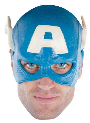 Lets Party By Disguise Inc Captain America Vinyl Adult 1/4 Mask / Blue - One Size