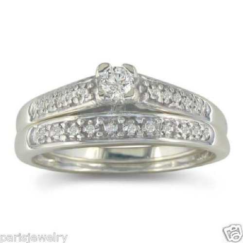 Paris Jewelry 1 Carat Genuine Diamond Bridal Set in Sterling Silver