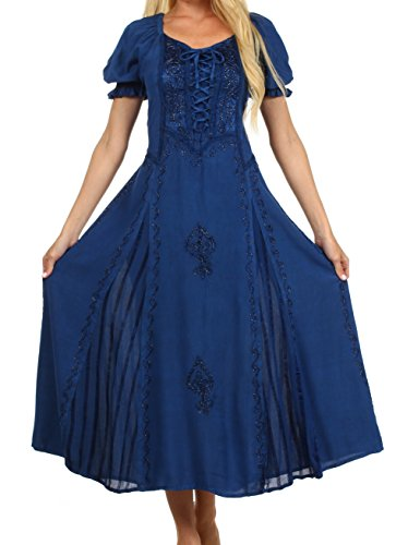 Sakkas 2100 Bridget Renaissance Dress - Navy - One Size front-220988