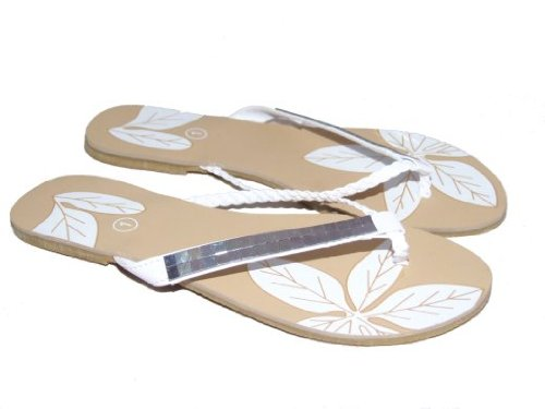 Mirror by Platino Toe Post Sandals White Sizes 10-2