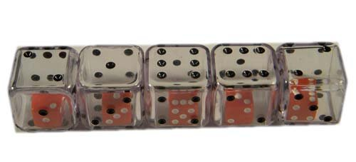 Clear Double Dice 19mm D6 4ea