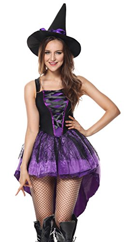 [Sibeawen Women's Broomstick Babe Witch Halloweens Plus Size Costumes Purple X-Large] (Broomstick Babe Halloween Costume)
