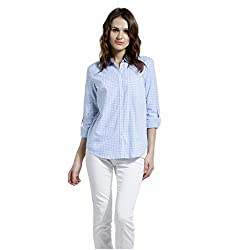 SbuyS - Regular Fit Blue & White Button Down Shirt