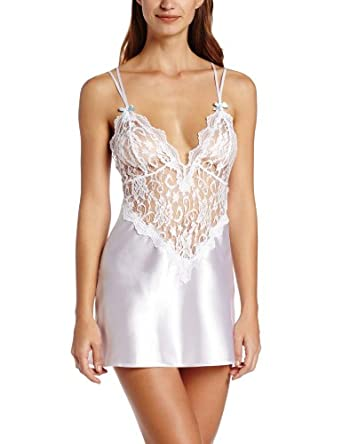 Dreamgirl Women's To Have and To Hold Satin Charmeuse Chemise and Thong, White, Small