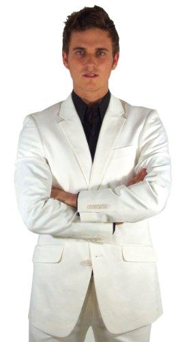 Marco Carlotti Mens White Cotton Suit - 48S Jacket - 36L Trousers