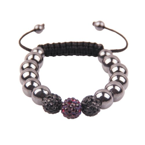 Brother Wooden Beads Designer Unisex Dark Red Wrap Crystal / Hematite Shamballa Bracelet / Anklet with adjustable sizes