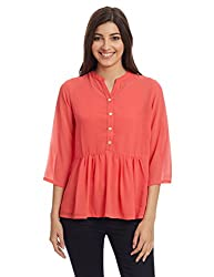 And Women's Button Down Top (AW16A36T180_Coral_16)