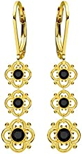 Lucia Costin .925 Sterling Silver, Black Swarovski Crystal Earrings, Fascinating