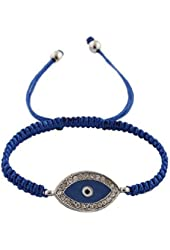 Dark Blue with Silvertone Lace Style Iced Out Evil Eye Macrame Bracelet ...