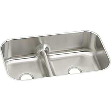 Elkay EAQDUH3421 Gourmet 21-3/25-Inch x 34-5/8-Inch Double Basin Undermount Stainless Steel Kitchen Sink