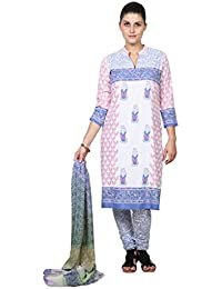 Missprint OffWhite And Blue Printed Salwar Suit Set - B011BICXV8