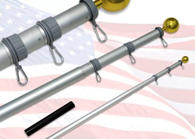 18Ft Telescoping Flagpole With Sewn Nylon Valley Forge Flag