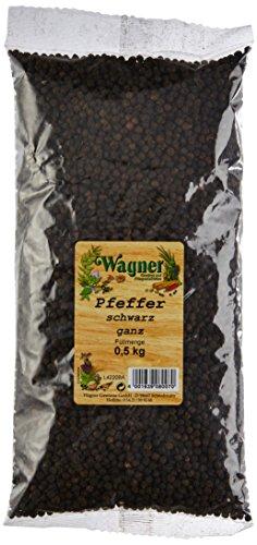 Wagner Gewürze Pfeffer schwarz ganz, 1er Pack (1 x 500 g)