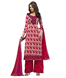 Admyrin Women Red Cambric Cotton Dress Material