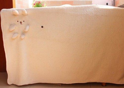 "New Bear Design Sofa Bed Fleece Blanket Throw 4 Colours 2 Sizes K1714 (Light Pink, L=90×125Cm/35.43""(W)×49.21""(L)) front-1014049"